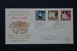 NEDERLAND 1963 FDC 61 GETYPT OPEN KLEP ++ VOORBEELD SCAN