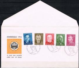 NEDERLAND 1954 FDC E16 ZOMER OPEN KLEP