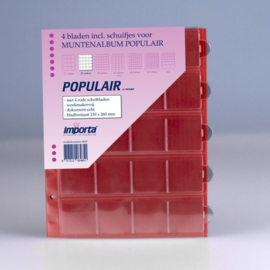 4 x 20-vaks populair muntbladen met rode schutbladen Geschikt voor 80 munten
