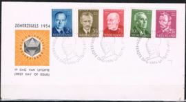 NEDERLAND 1954 FDC E16 ZOMER OPEN KLEP LEES