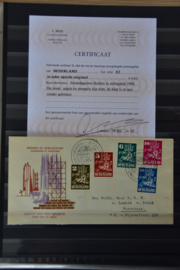 NEDERLAND 1950 FDC E2 GESLOTEN KLEP MET CERTIFICAAT