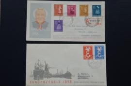FDC JAARGANG 1958 COMPLEET GEBRUIKT. CAT 58€