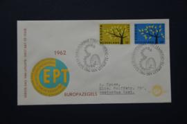 NEDERLAND 1962 FDC E53 GETYPT OPEN KLEP ++ VOORBEELD SCAN
