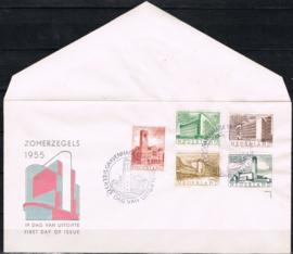 NEDERLAND 1955 FDC E21 OPEN KLEP