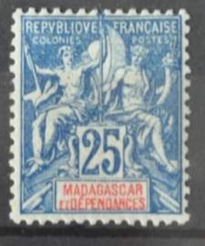 P 251 ++ MADAGASCAR 1902 HINGED PLAK(REST)
