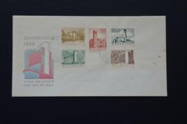 NEDERLAND 1955 FDC E21 OPEN KLEP LEES