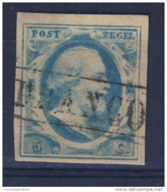 NEDERLAND 1852 NVPH 1 PLAAT V GESTEMPELD ++ J 36