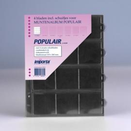 4 x 12-vaks populair muntbladen met zwarte schutbladen Geschikt voor 48 munten