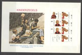 1972 NEDERLAND NVPH FDC KINDERZEGELS BLOK 1024