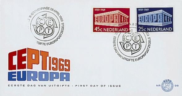 NEDERLAND 1969 FDC E96 OPEN KLEP ++ VOORBEELD SCAN