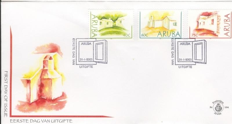 ARUBA 2003 FDC E 104 LEMEN HUISJES