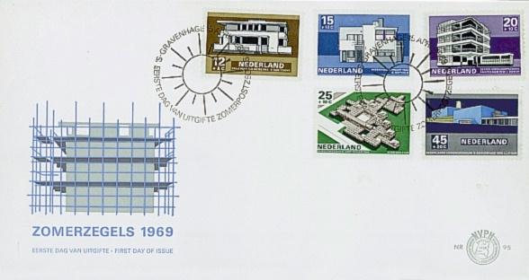 NEDERLAND 1969 FDC E95 OPEN KLEP ++ VOORBEELD SCAN