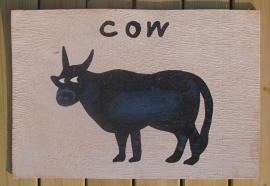 Schilderijtje Cow, zwart/wit, op hardboard 30 x 45 cm