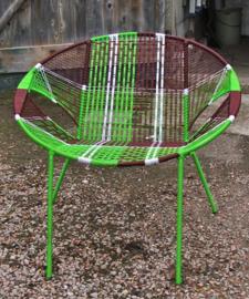 Owusu chair nr. 44 Ghanese kuipstoel gbruin/groen/wit