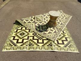 Plastic vloerkleed 180 x 270 cm, opvouwbaar, Azteken, coffee/geel/off white