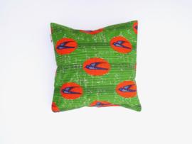Kussensloop vogel, blauw/oranje/groen,  50 x 50 cm