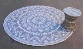 Rond vloerkleed, design ster, 185 cm, grijs / wit