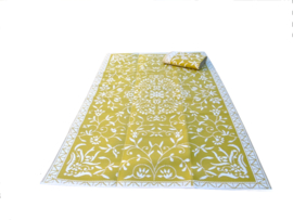 Plastic vloerkleed 180 x 270 cm, Design Japanse bloem, oker geel, opvouwbaar