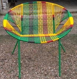 Owusu chair nr. 39 Ghanese kuipstoel Geel/groen/rood/zwart
