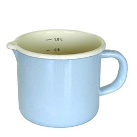 Emaille maatbeker, 1 liter, pastel blauw