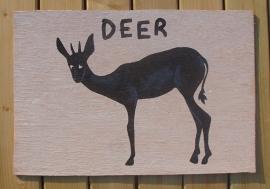 Schilderijtje Deer , zwart/wit, op hardboard 30 x 45 cm
