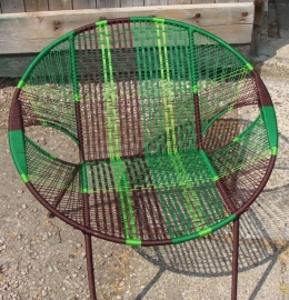 Owusu chair nr. 33 Ghanese kuipstoel Bruin/groen/licht groen