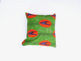 Kussensloop vogel, blauw/oranje/groen,  40 x 40 cm
