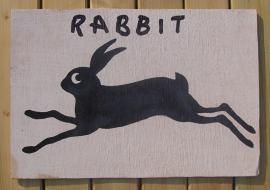 Schilderijtje Rabbit, zwart/wit, op hardboard 30 x 45 cm
