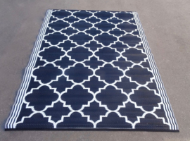 Plastic vloerkleed 150 x 210 cm, Bohemiaanse Tegel, zwart / wit