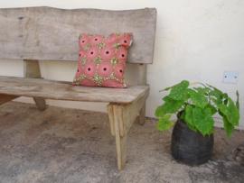 Kussensloop cirkels, oud roze/mos groen/zwart   40 x 40 cm