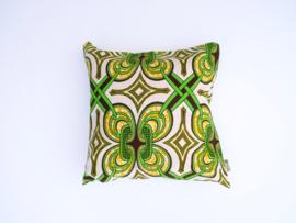 Kussensloop retro ringen, groen/oker geel/zwart  50 x 50 cm