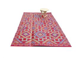 Plastic vloerkleed 180 x 270 cm, opvouwbaar, Azteken, rood / geel / blauw