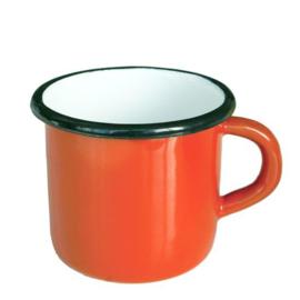 Emaille mok, 8 cm, oranje