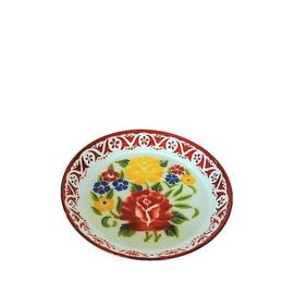 Emaille dienblad gedecoreerd, 35 cm, rood