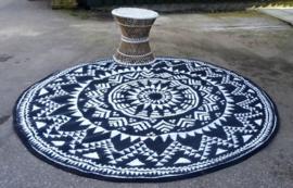 Rond vloerkleed, design ster, 185 cm, zwart/wit