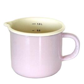 Emaille maatbeker, 1 liter, pastel roze