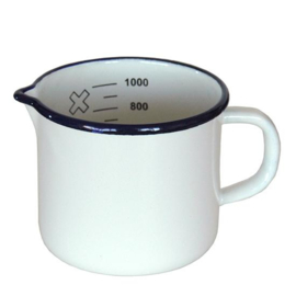 Emaille maatbeker, 1 liter, wit