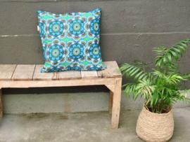 Kussensloop retro bloem, blauw/groen/rood  50 x 50 cm