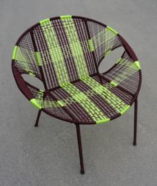 Owusu chair nr. 15 B Ghanese kuipstoel Bruin/lime groen