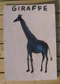 Schilderijtje Giraffe, zwart/wit, op hardboard 30 x 45 cm