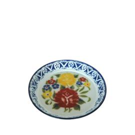 Emaille dienblad gedecoreerd, 35 cm, blauw