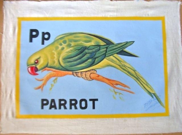 Schilderijtje Parrot, kleur, op canvas 30 x 45 cm