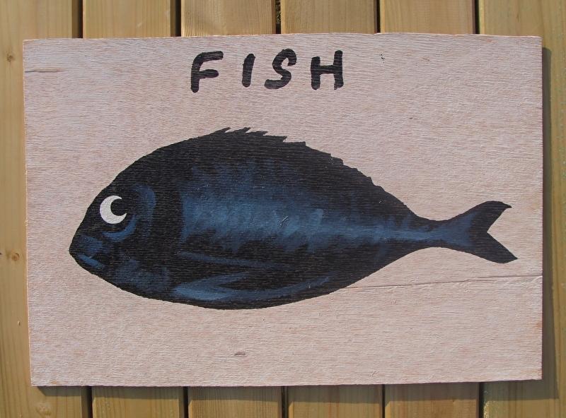 Schilderijtje Fish , zwart/wit, op hardboard 30 x 45 cm