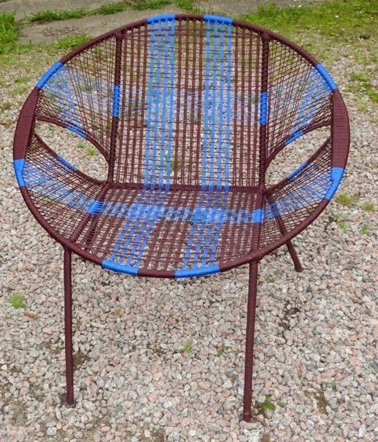 Owusu chair nr. 11 Ghanese kuipstoel Bruin/blauw