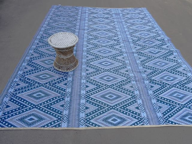 Plastic vloerkleed 270 x  360 cm (opvouwbaar), blauwe ruit