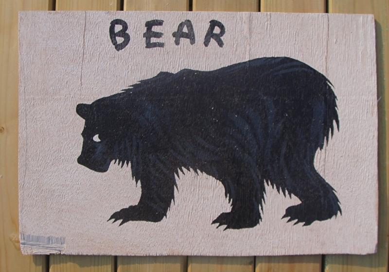 Schilderijtje Bear, zwart/wit, op hardboard 30 x 45 cm