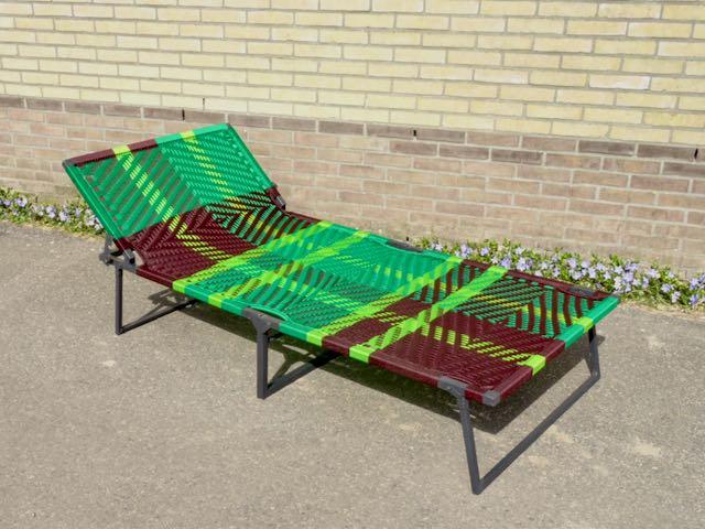 Owusu stretcher, bruin groen lichtgroen, ruit design