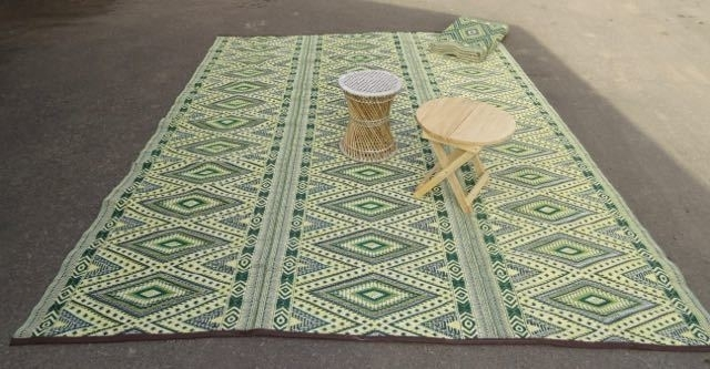 Plastic vloerkleed 270 x  360 cm (opvouwbaar), groene ruit