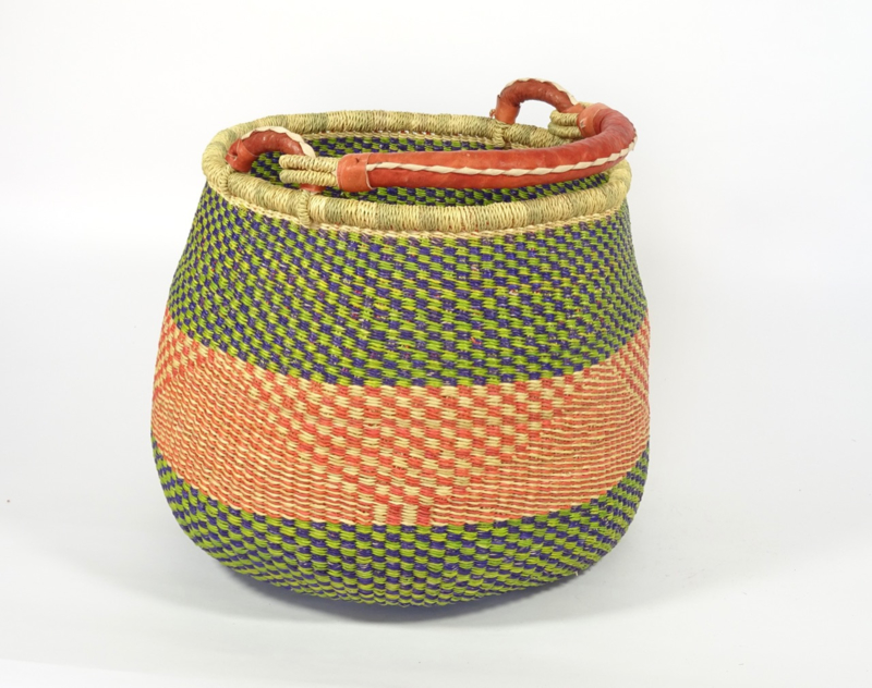Potmand ø 44 cm,  groen/donker blauw neutraal/rood, met rood leren hengsel