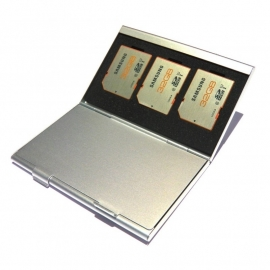 Silver Aluminium SD Card Case